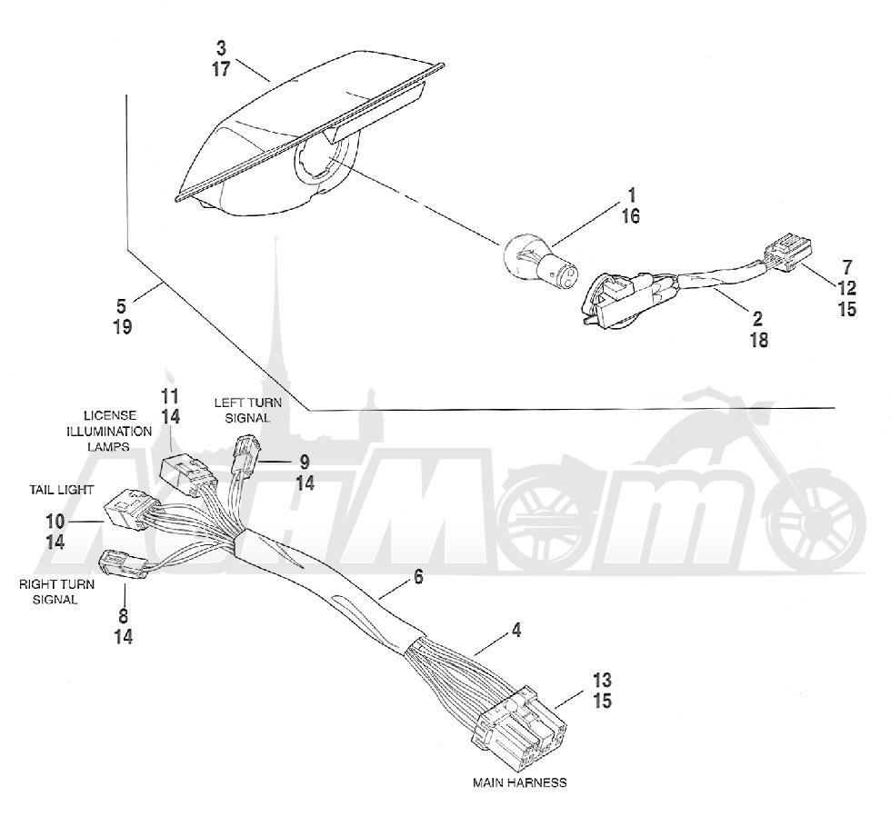 Запчасти для Мотоцикла Harley-Davidson 2005 FXSTD SOFTAIL® (BS) (CARBURATED) Раздел: TAIL LIGHT ASSEMBLY | задний фонарь в сборе