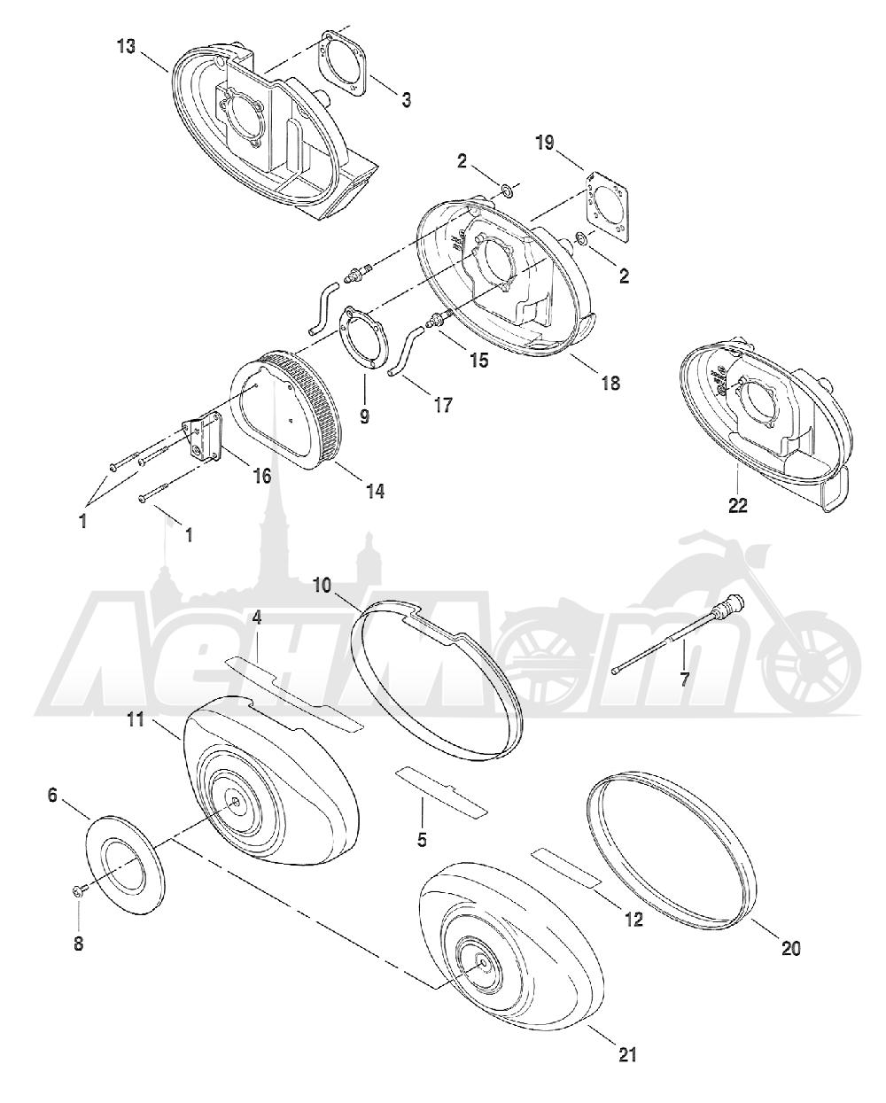Запчасти для Мотоцикла Harley-Davidson 2005 FXSTB SOFTAIL® (BT) (CARBURATED) Раздел: AIR CLEANER ASSEMBLY W/ ENRICHENER | очиститель воздуха в сборе вместе с ENRICHENER