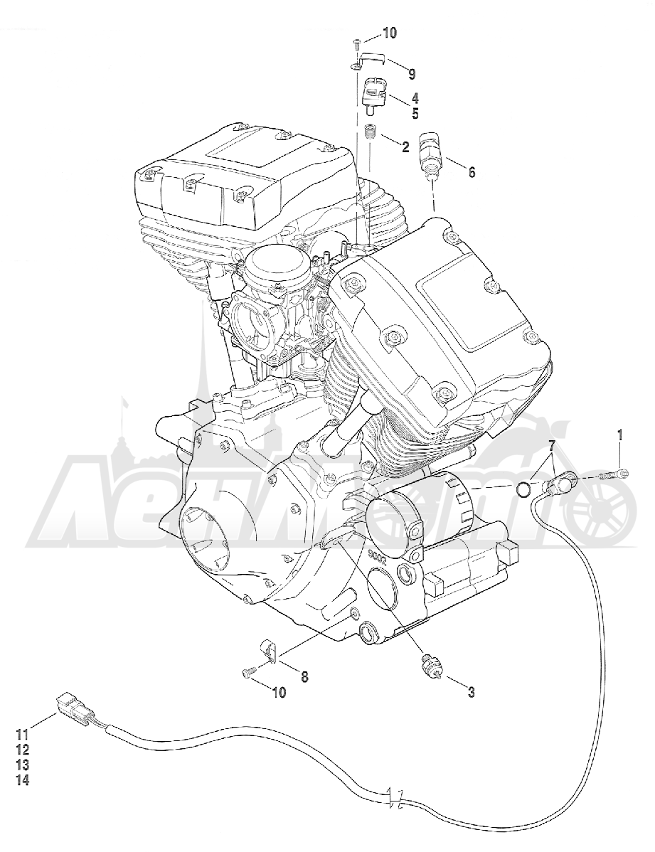 Запчасти для Мотоцикла Harley-Davidson 2005 FXSTB SOFTAIL® (BT) (CARBURATED) Раздел: ELECTRICAL - ENGINE SENSORS W/ SWITCHES | электрика двигатель датчики вместе с выключатели, переключатели