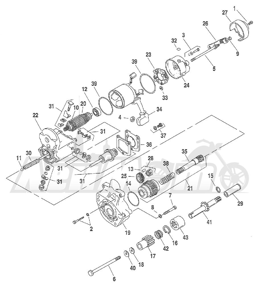 Запчасти для Мотоцикла Harley-Davidson 2005 FXSTB SOFTAIL® (BT) (CARBURATED) Раздел: ELECTRICAL - STARTER ASSEMBLY | электрика стартер в сборе