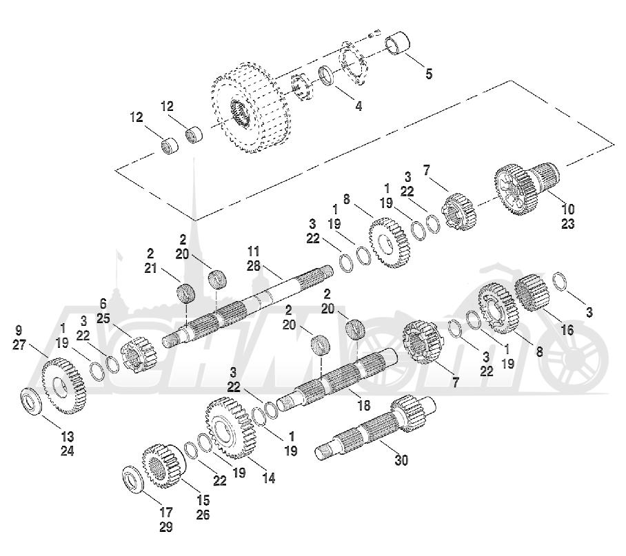 Запчасти для Мотоцикла Harley-Davidson 2005 FXSTB SOFTAIL® (BT) (CARBURATED) Раздел: TRANSMISSION GEARS | коробка передач