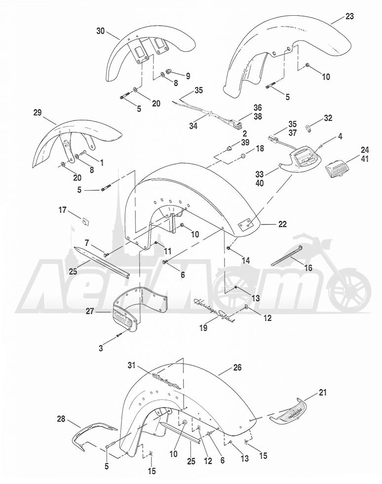 Запчасти для Мотоцикла Harley-Davidson 2005 FXSTB SOFTAIL® (BT) (CARBURATED) Раздел: FENDER - FRONT | переднее крыло