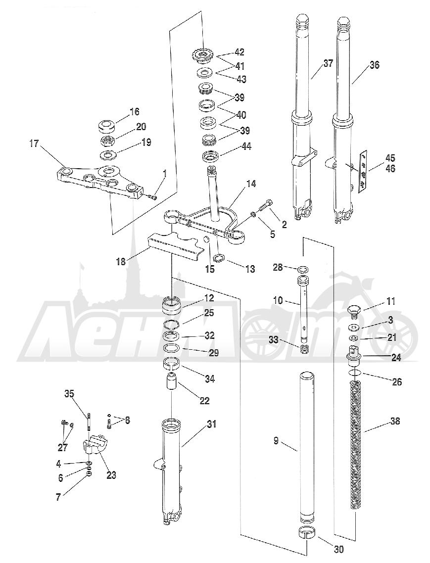 Запчасти для Мотоцикла Harley-Davidson 2005 FXSTB SOFTAIL® (BT) (CARBURATED) Раздел: SUSPENSION - FRONT FORK ASSEMBLY W/ STEERING STEM | передняя подвеска вилка в сборе вместе с рулевое управление стойка