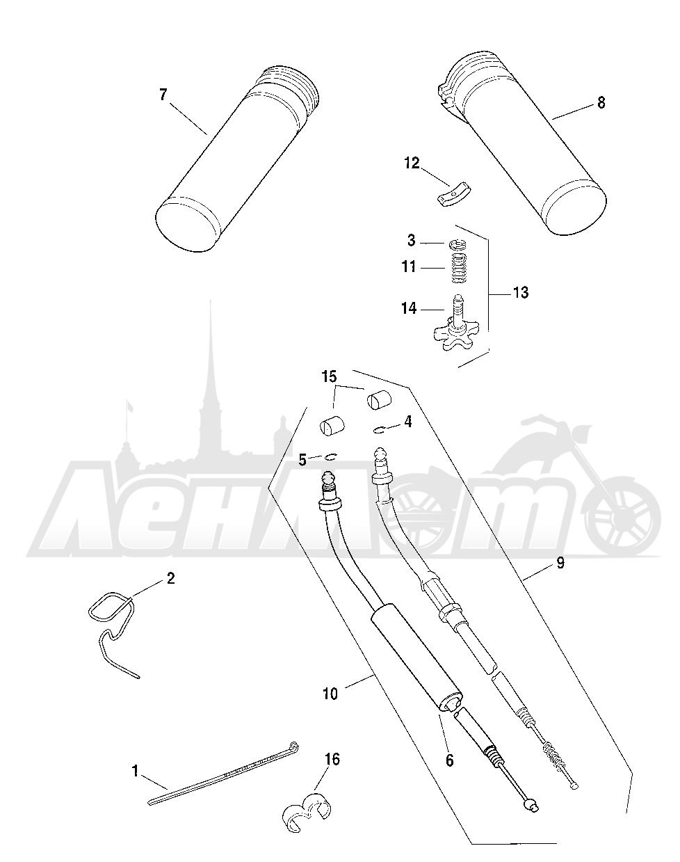 Запчасти для Мотоцикла Harley-Davidson 2005 FXSTB SOFTAIL® (BT) (CARBURATED) Раздел: THROTTLE CONTROL ASSEMBLY W/ GRIPS   дроссель управление в сборе вместе с ручки
