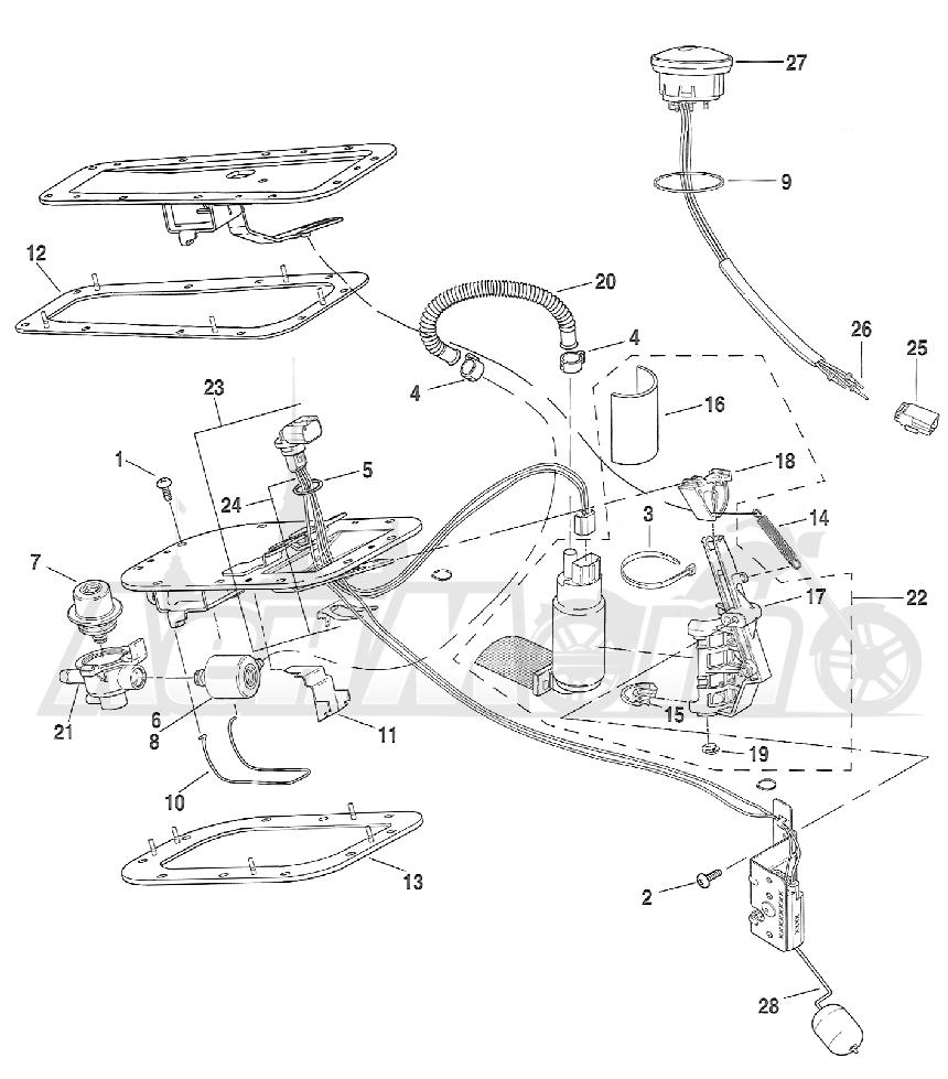 Запчасти для Мотоцикла Harley-Davidson 2005 FXSTI SOFTAIL® (BV) (EFI) Раздел: FUEL PUMP ASSEMBLY | топливный насос в сборе