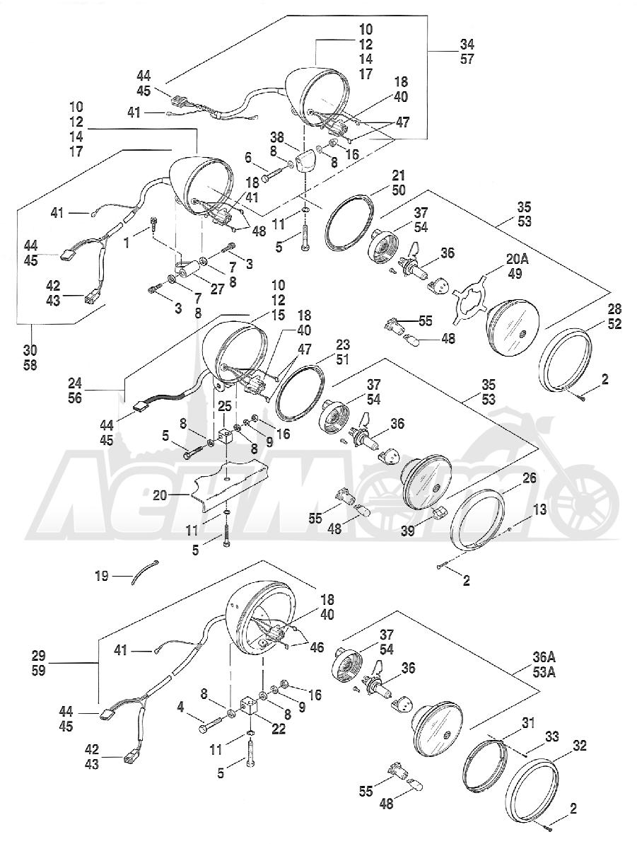 Запчасти для Мотоцикла Harley-Davidson 2005 FXSTI SOFTAIL® (BV) (EFI) Раздел: HEADLIGHT ASSEMBLY | передняя фара в сборе