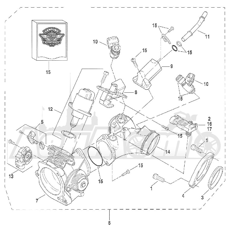 Запчасти для Мотоцикла Harley-Davidson 2005 FXSTSI SOFTAIL® (BZ) (EFI) Раздел: FUEL INJECTION ASSEMBLY | топливо впрыск в сборе