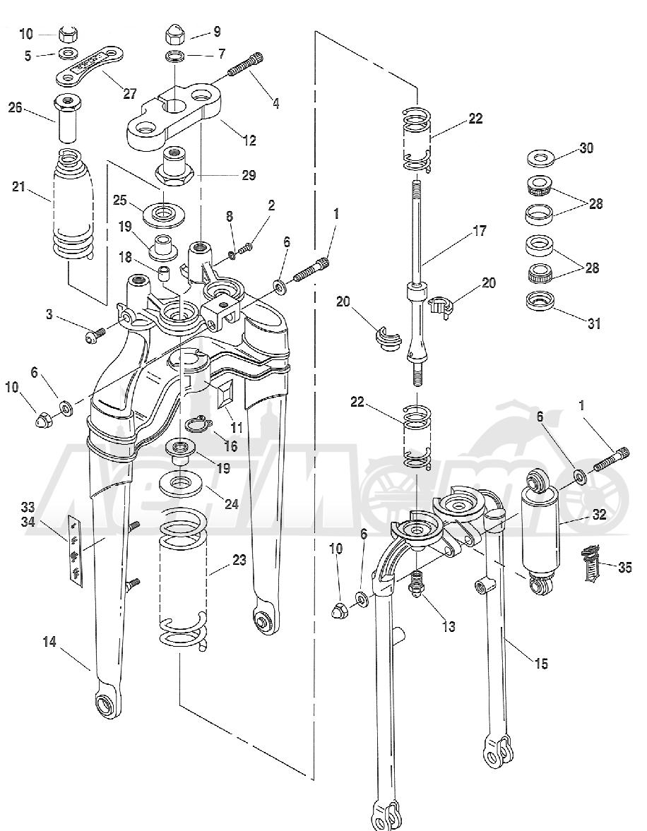 Запчасти для Мотоцикла Harley-Davidson 2005 FXSTSI SOFTAIL® (BZ) (EFI) Раздел: SUSPENSION - FRONT FORK ASSEMBLY W/ STEERING STEM | передняя подвеска вилка в сборе вместе с рулевое управление стойка
