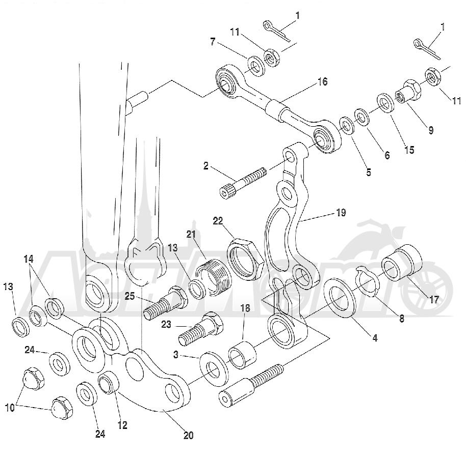 Запчасти для Мотоцикла Harley-Davidson 2005 FXSTSI SOFTAIL® (BZ) (EFI) Раздел: SUSPENSION - FRONT FORK ROCKERS W/ CALIPER MOUNTING ASSEMBLY | передняя подвеска вилка ROCKERS вместе с суппорт крепления в сборе