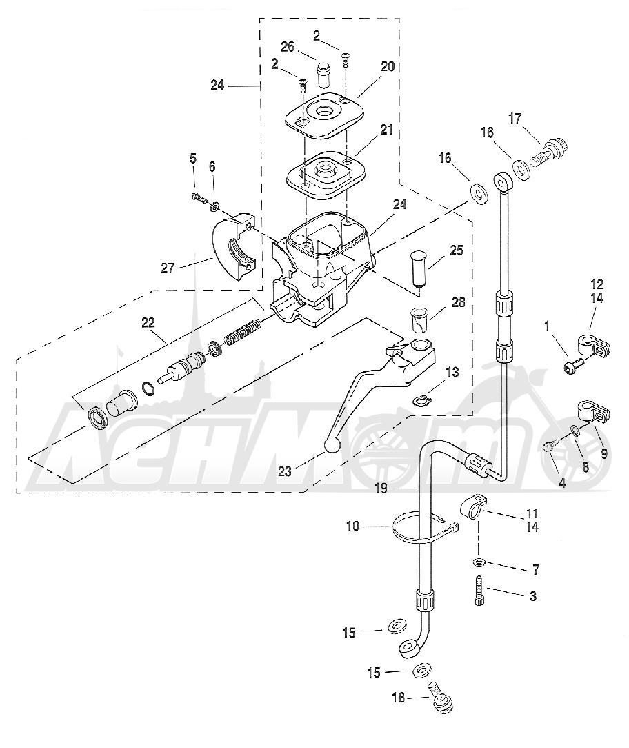 Запчасти для Мотоцикла Harley-Davidson 2005 FXSTDI -SOFTAIL® (JB) (EFI) Раздел: BRAKE - FRONT BRAKE CYLINDER ASSEMBLY W/ LEVER   передний тормоз тормоза цилиндр в сборе вместе с рычаг