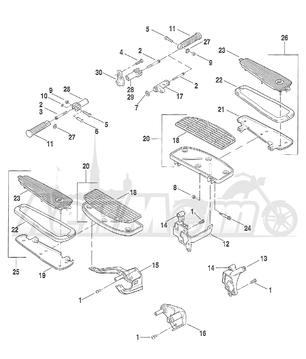 Запчасти для Мотоцикла Harley-Davidson 2005 FXSTDI -SOFTAIL® (JB) (EFI) Раздел: FOOTRESTS AND FOOTBOARDS ASSEMBLIES | подножки и площадки под ноги в сборе