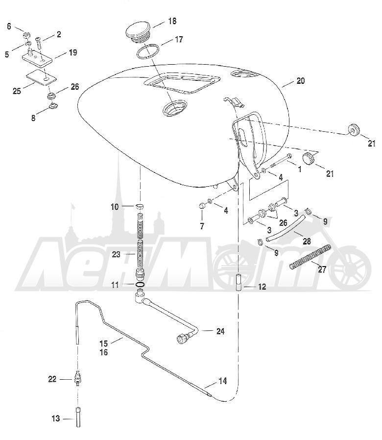 Запчасти для Мотоцикла Harley-Davidson 2005 FXSTDI -SOFTAIL® (JB) (EFI) Раздел: FUEL TANK ASSEMBLY   топливный бак в сборе