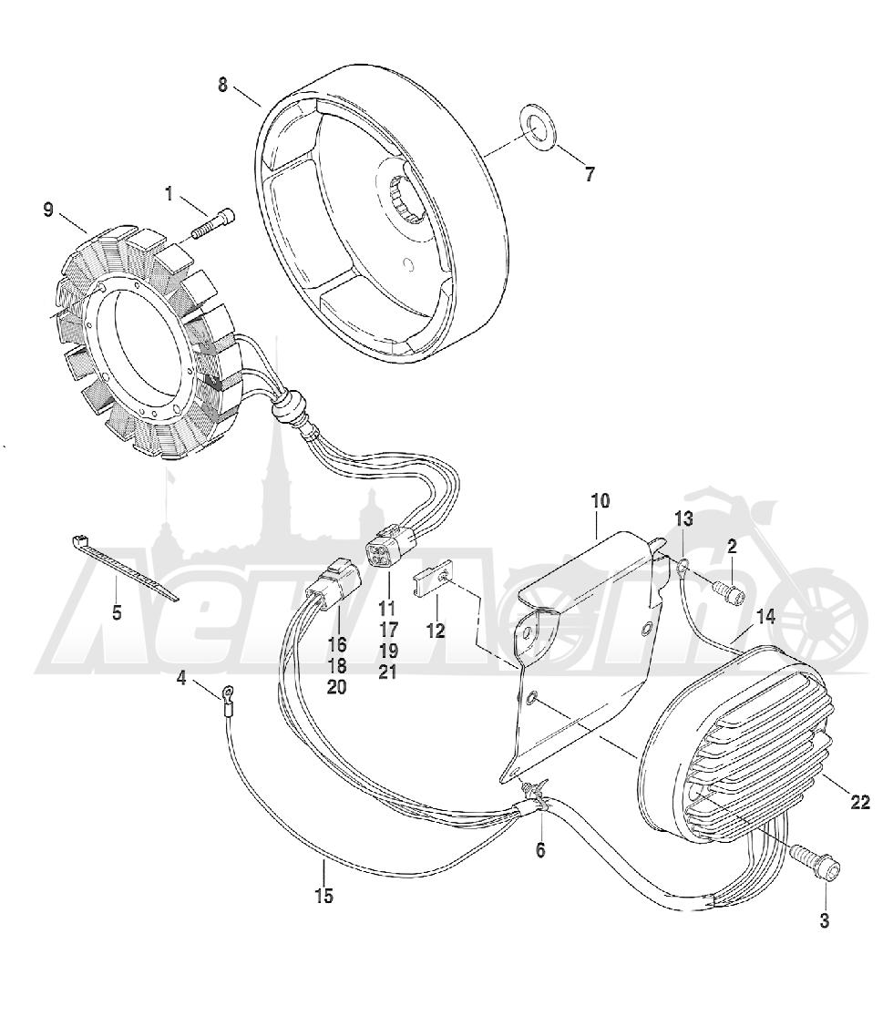 Запчасти для Мотоцикла Harley-Davidson 2005 FXSTBI SOFTAIL® (JA) (EFI) Раздел: ELECTRICAL - ALTERNATOR W/ VOLTAGE REGULATOR | электрика генератор вместе с регулятор напряжения