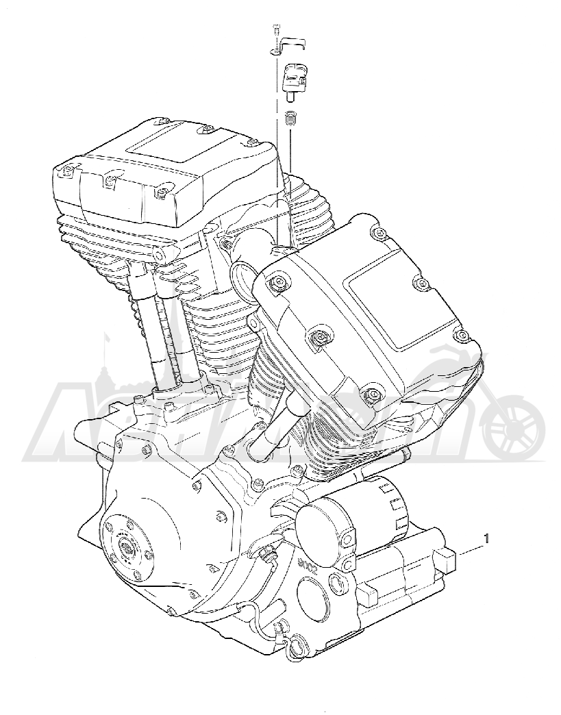 Запчасти для Мотоцикла Harley-Davidson 2005 FXSTBI SOFTAIL® (JA) (EFI) Раздел: ENGINE ASSEMBLY   двигатель в сборе