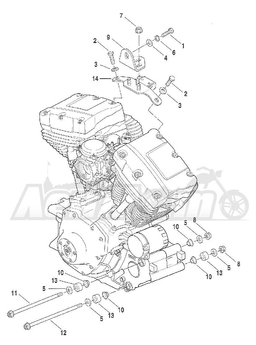 Запчасти для Мотоцикла Harley-Davidson 2005 FXSTBI SOFTAIL® (JA) (EFI) Раздел: ENGINE MOUNTS | опоры двигателя