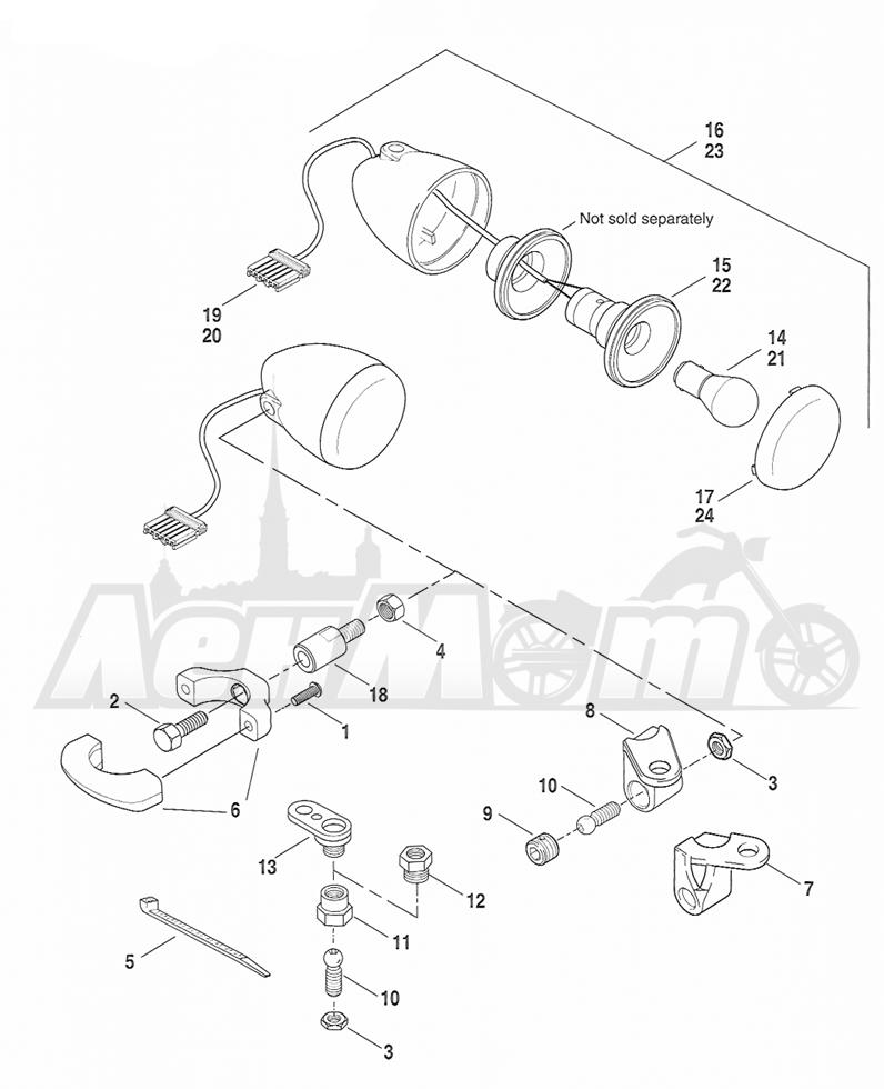 Запчасти для Мотоцикла Harley-Davidson 2005 FXSTBI SOFTAIL® (JA) (EFI) Раздел: TURN SIGNALS - FRONT | сигналы поворота перед
