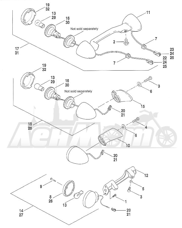 Запчасти для Мотоцикла Harley-Davidson 2005 FXSTBI SOFTAIL® (JA) (EFI) Раздел: TURN SIGNALS - REAR   сигналы поворота зад