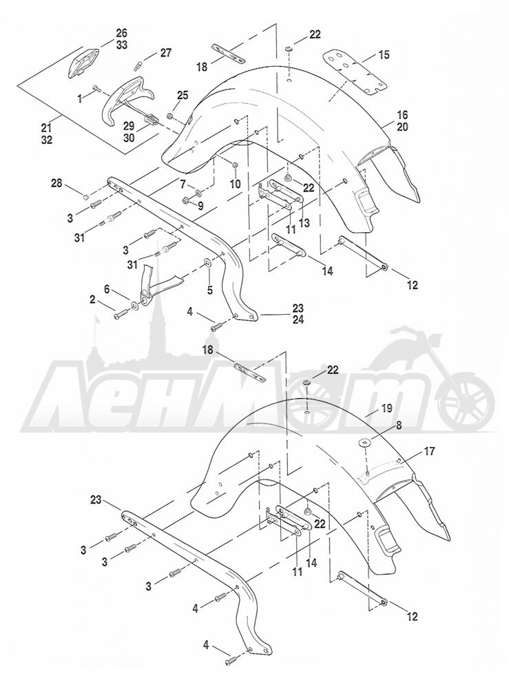 Запчасти для Мотоцикла Harley-Davidson 2005 FLSTSCI SOFTAIL® (BY) (EFI) Раздел: FENDER - REAR W/ SUPPORTS | заднее крыло вместе с кронштейны