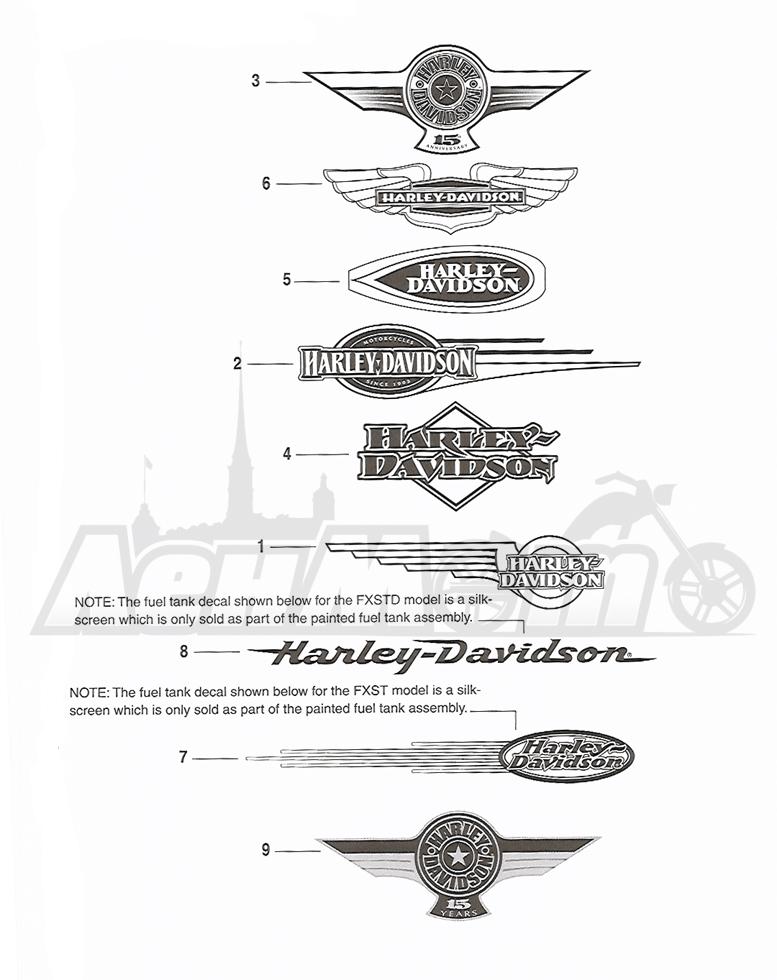 Запчасти для Мотоцикла Harley-Davidson 2005 FLSTSCI SOFTAIL® (BY) (EFI) Раздел: FUEL TANK DECALS AND NAME PLATES   топливный бак наклейки и фирменные таблички