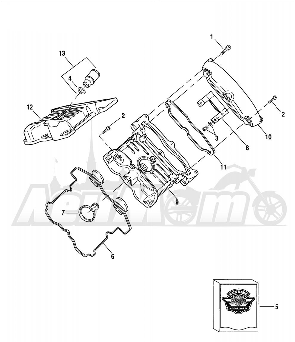 Запчасти для Мотоцикла Harley-Davidson 2005 V-ROD® ANODIZED Раздел: CAM COVERS (FRONT SHOWN) | кулачок крышки (перед показан)