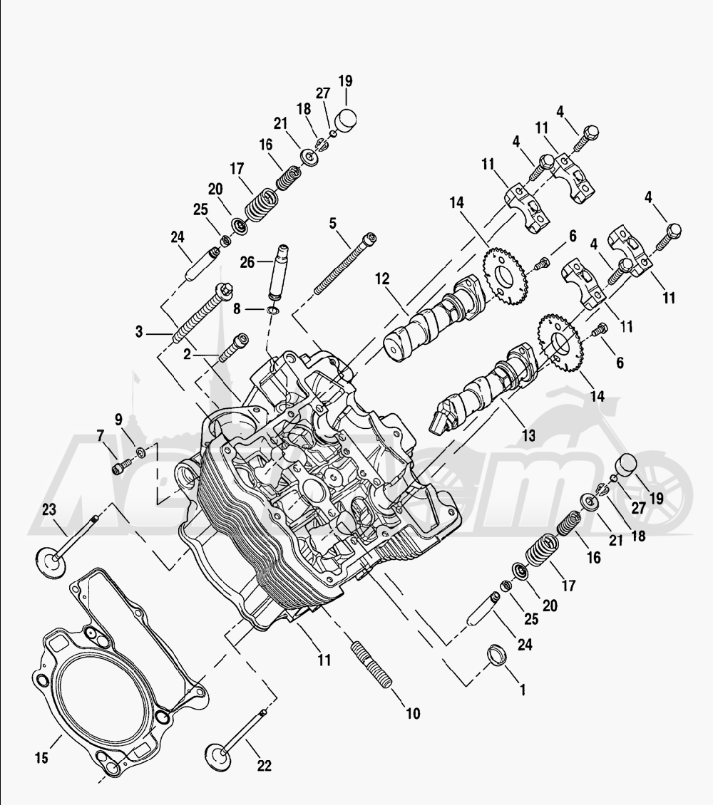 Запчасти для Мотоцикла Harley-Davidson 2005 V-ROD® ANODIZED Раздел: CYLINDER HEAD W/ CAMSHAFTS AND VALVES   головка цилиндра вместе с распредвалы и клапаны