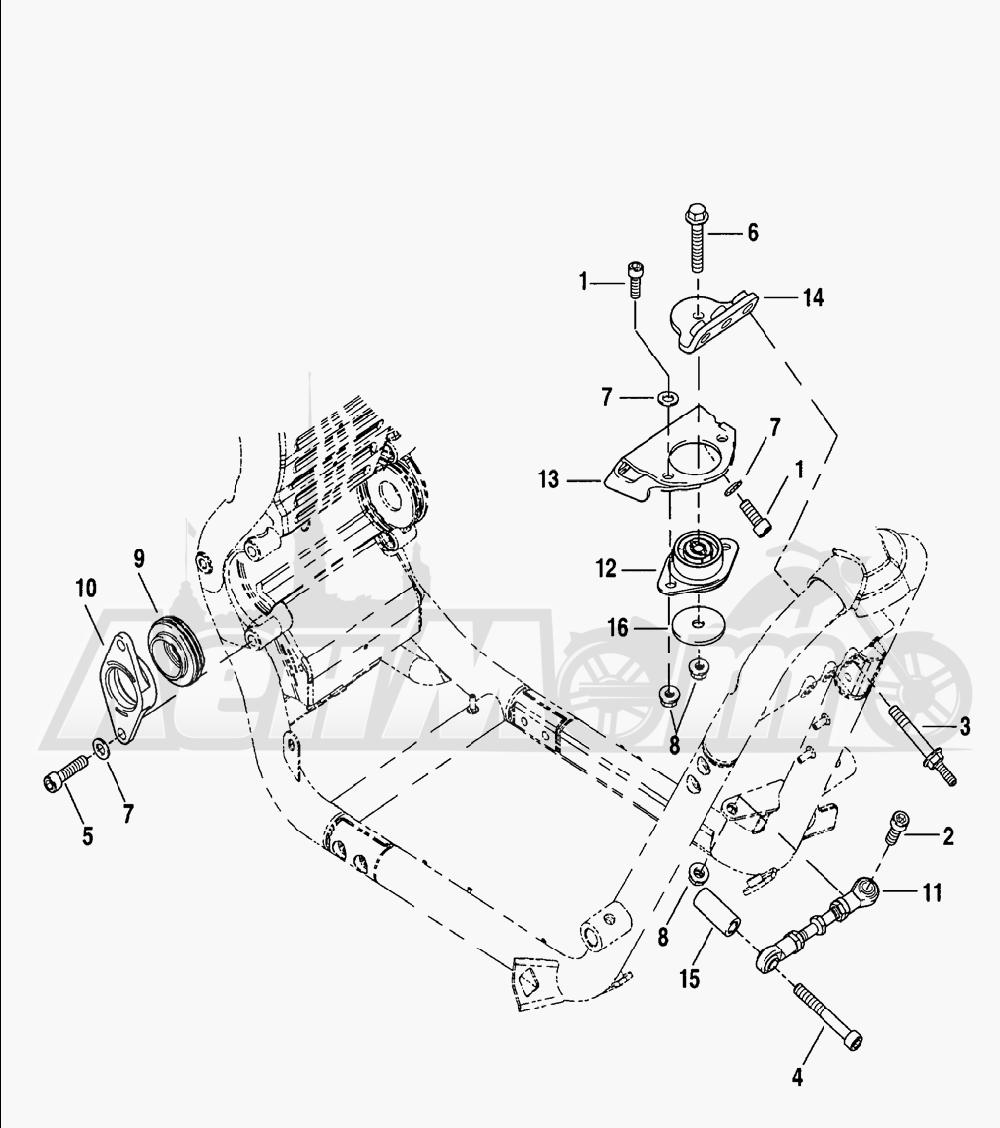 Запчасти для Мотоцикла Harley-Davidson 2005 V-ROD® ANODIZED Раздел: ENGINE MOUNTS W/ STABILIZER LINK | опоры двигателя вместе с стабилизатор