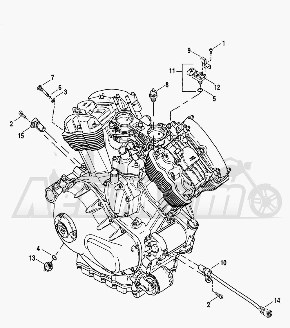 Запчасти для Мотоцикла Harley-Davidson 2005 V-ROD® ANODIZED Раздел: ENGINE SENSORS W/ SWITCHES | двигатель датчики вместе с выключатели, переключатели