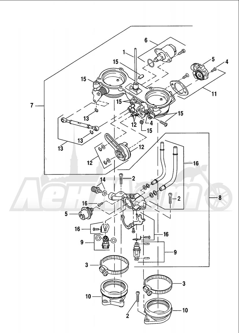 Запчасти для Мотоцикла Harley-Davidson 2005 V-ROD® ANODIZED Раздел: THROTTLE BODY | дроссельный узел