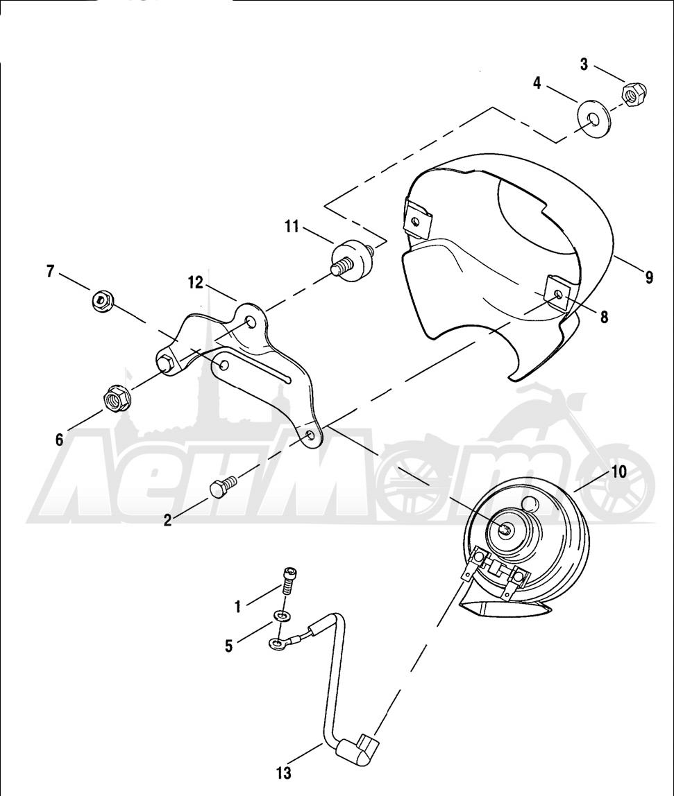 Запчасти для Мотоцикла Harley-Davidson 2005 V-ROD® ANODIZED Раздел: HORN ASSEMBLY | звуковой сигнал, гудок в сборе