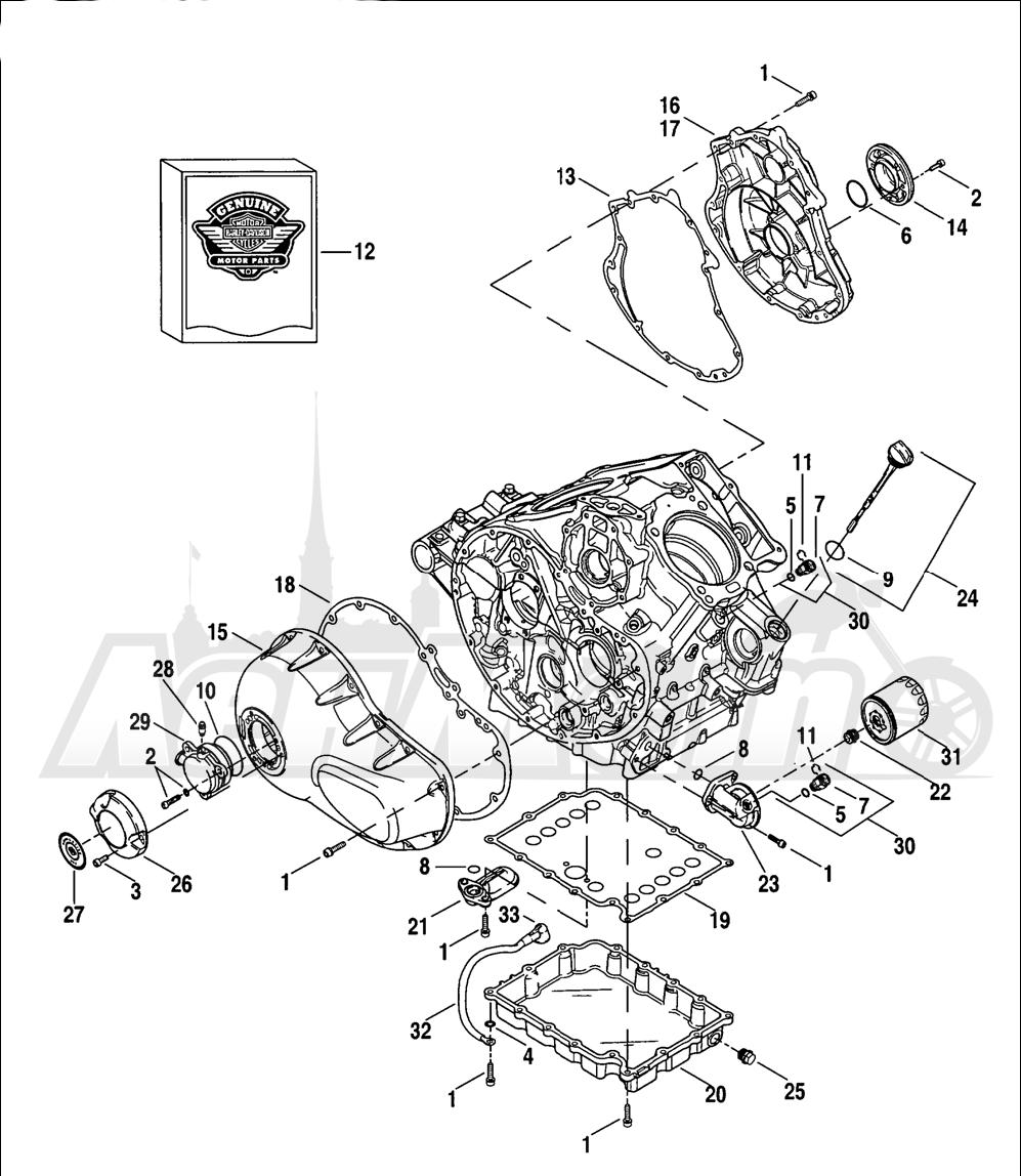 Запчасти для Мотоцикла Harley-Davidson 2005 V-ROD® BLACK Раздел: CLUTCH COVERS W/ OIL PAN AND FILTER   сцепление крышки вместе с маслянный поддон и фильтр
