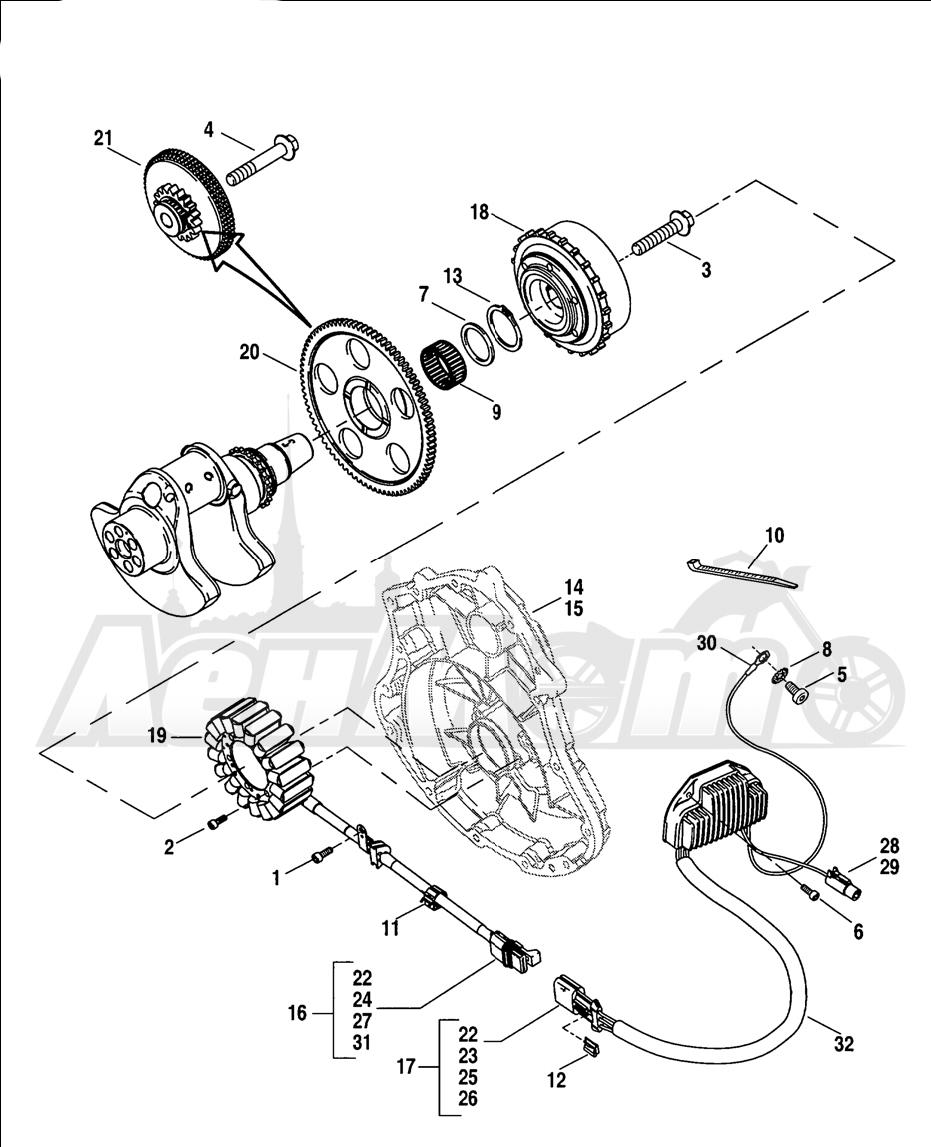 Запчасти для Мотоцикла Harley-Davidson 2005 V-ROD® BLACK Раздел: ELECTRICAL - ALTERNATOR W/ VOLTAGE REGULATOR | электрика генератор вместе с регулятор напряжения