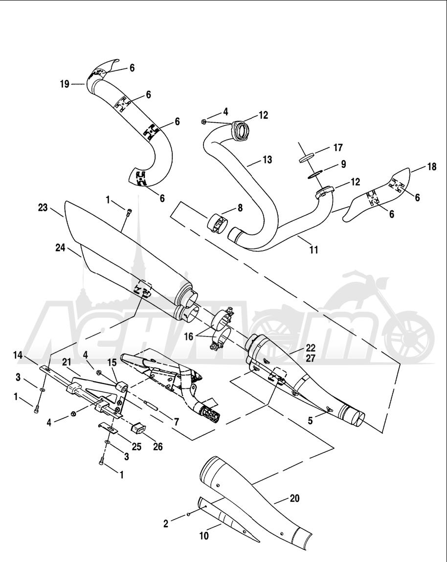 Запчасти для Мотоцикла Harley-Davidson 2005 V-ROD® BLACK Раздел: EXHAUST SYSTEM | выпускная система