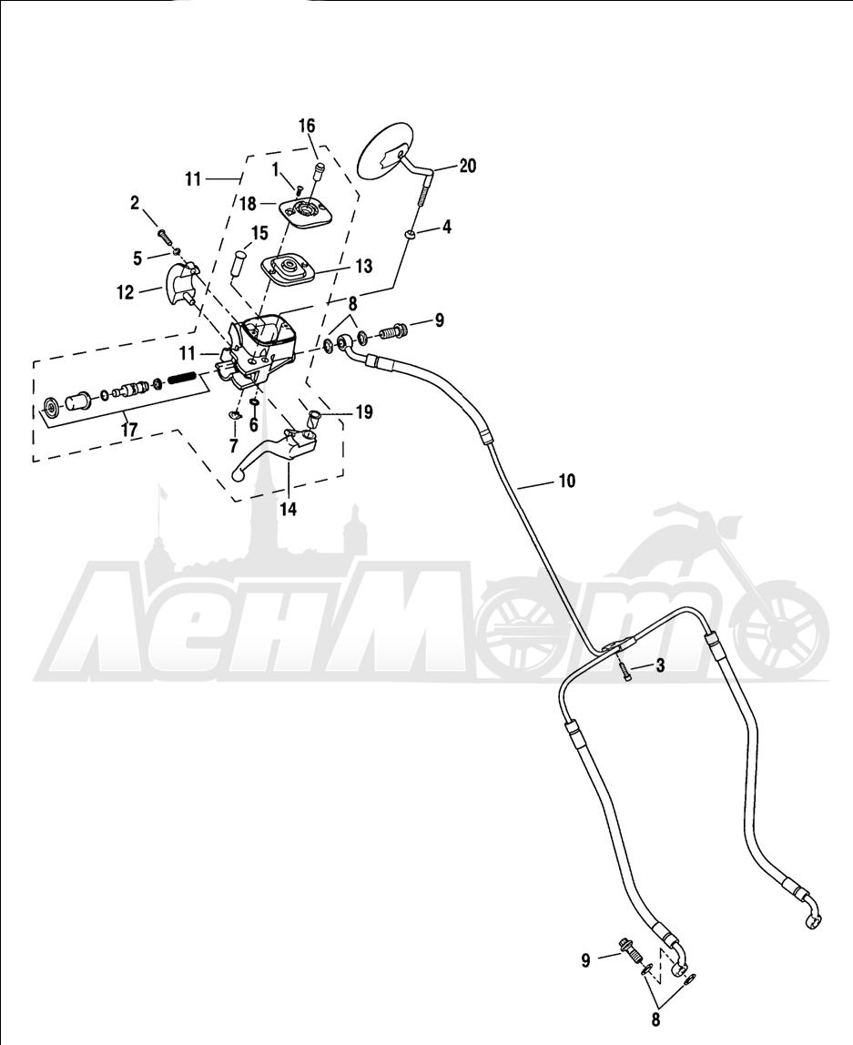Запчасти для Мотоцикла Harley-Davidson 2005 V-ROD® BLACK Раздел: BRAKE - FRONT BRAKE CYLINDER ASSEMBLY W/ LEVER | передний тормоз тормоза цилиндр в сборе вместе с рычаг
