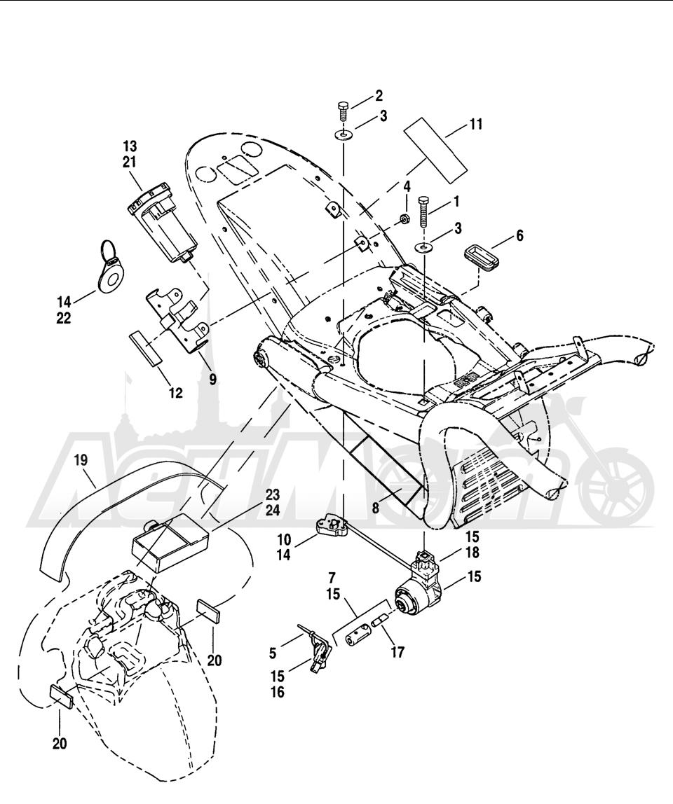 Запчасти для Мотоцикла Harley-Davidson 2005 V-ROD® BLACK Раздел: ELECTRICAL - TURN SIGNAL MODULE W/ IGNITION SWITCH   электрика сигнал поворота модуль вместе с замок зажигания