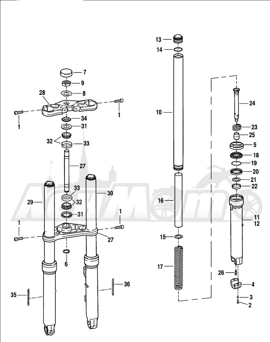 Запчасти для Мотоцикла Harley-Davidson 2005 V-ROD® BLACK Раздел: SUSPENSION - FRONT FORK ASSEMBLY W/ STEERING STEM | передняя подвеска вилка в сборе вместе с рулевое управление стойка