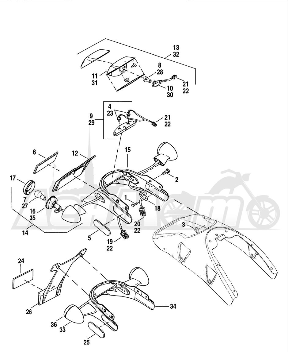 Запчасти для Мотоцикла Harley-Davidson 2005 V-ROD® BLACK Раздел: TAIL LAMP W/ REAR TURN SIGNALS AND LICENSE PLATE BRACKET   TAIL лампа вместе с зад сигналы поворота и площадка номерного знака опора, кронштейн