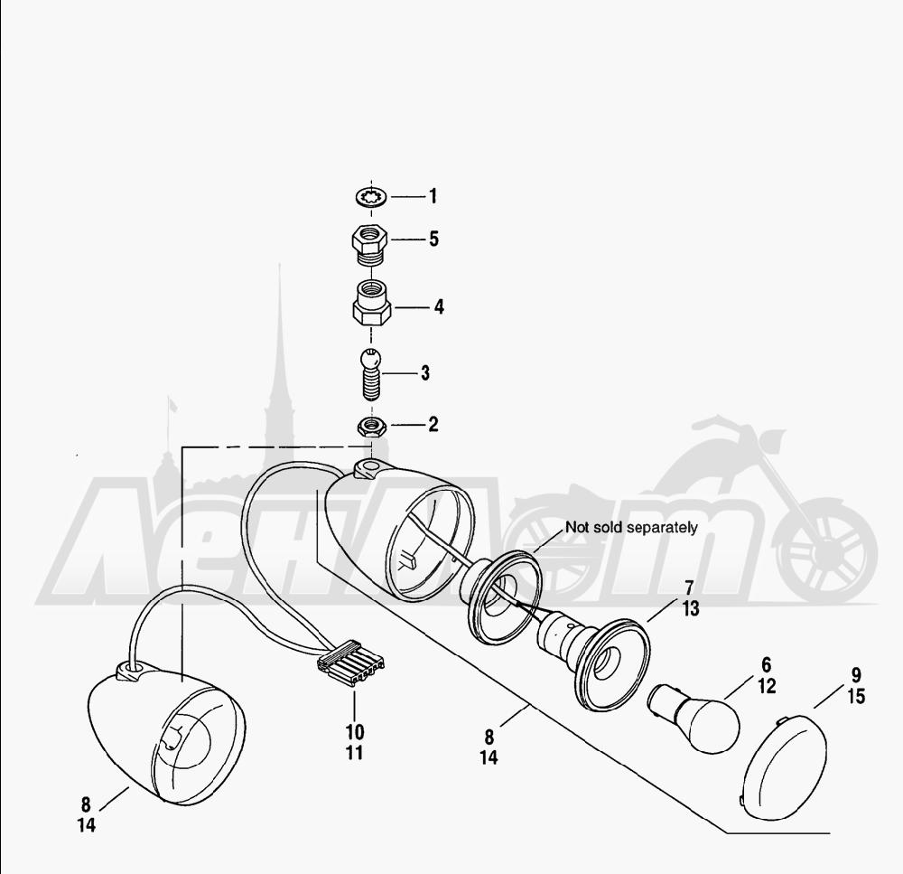 Запчасти для Мотоцикла Harley-Davidson 2005 V-ROD® BLACK Раздел: TURN SIGNALS - FRONT   сигналы поворота перед