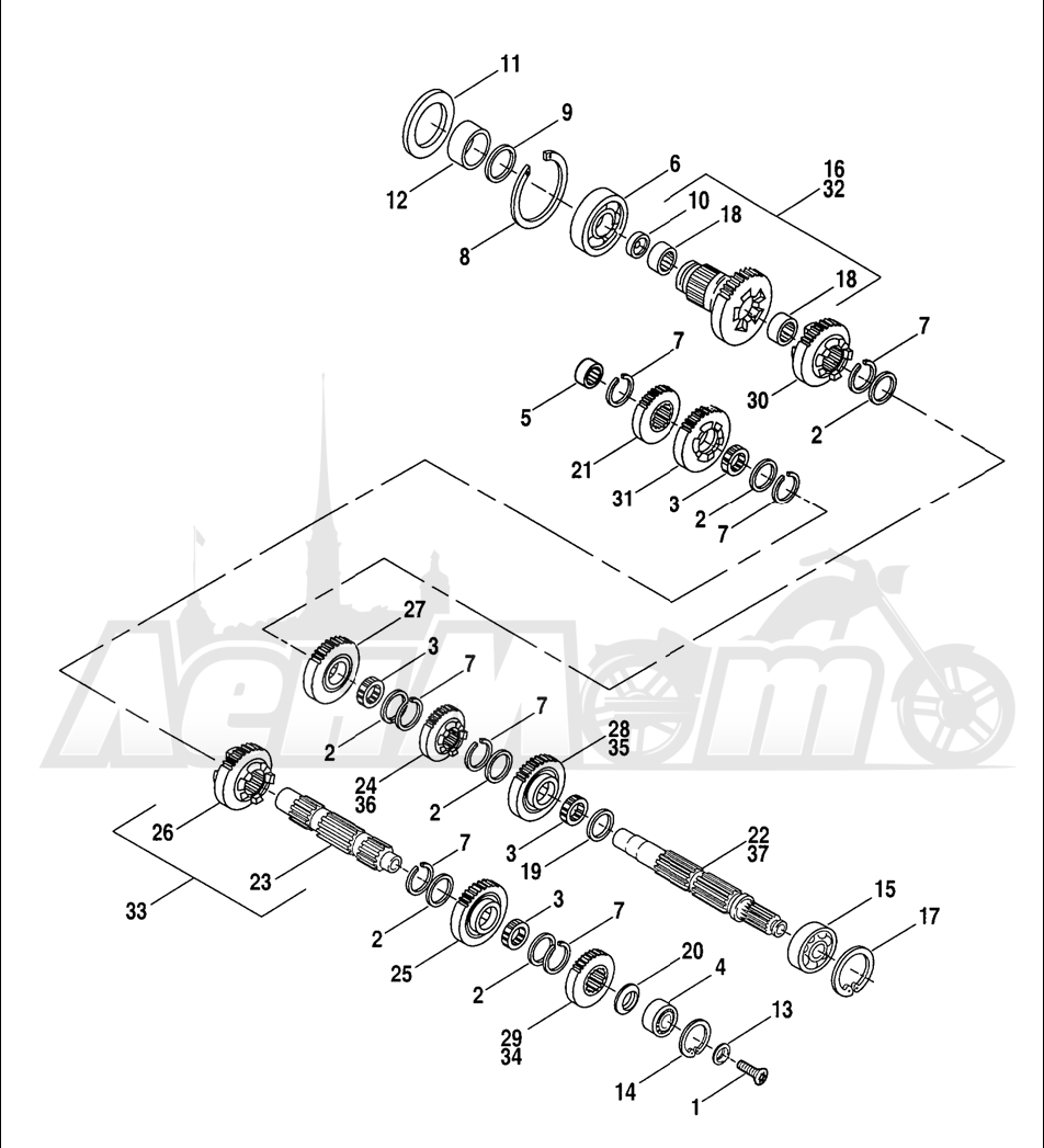 Запчасти для Мотоцикла Harley-Davidson 2005 SPORTSTER® XL 883 (CA) Раздел: TRANSMISSION GEARS   коробка передач