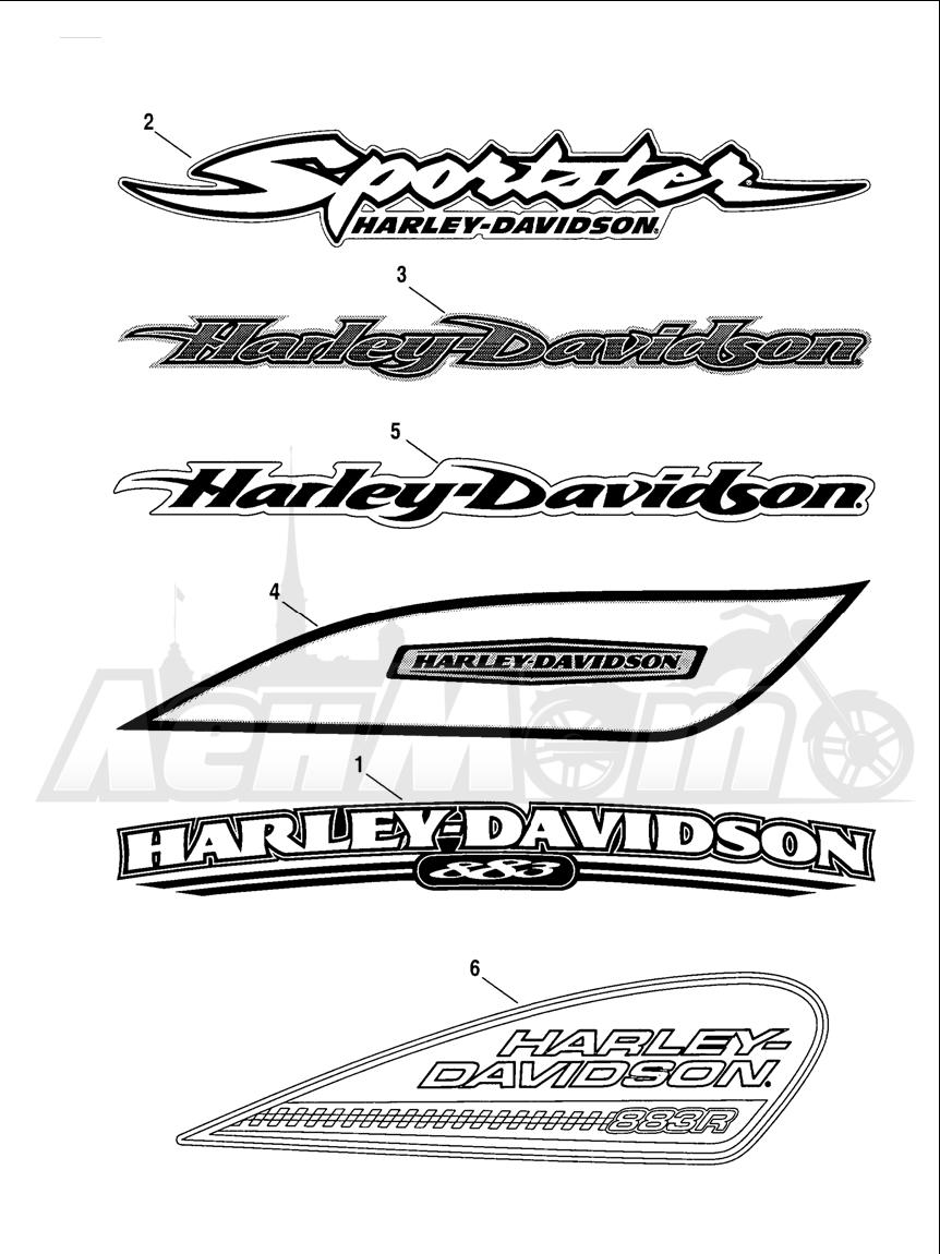 Запчасти для Мотоцикла Harley-Davidson 2005 SPORTSTER® XL 883 (CA) Раздел: FUEL TANK DECALS AND NAME PLATES   топливный бак наклейки и фирменные таблички