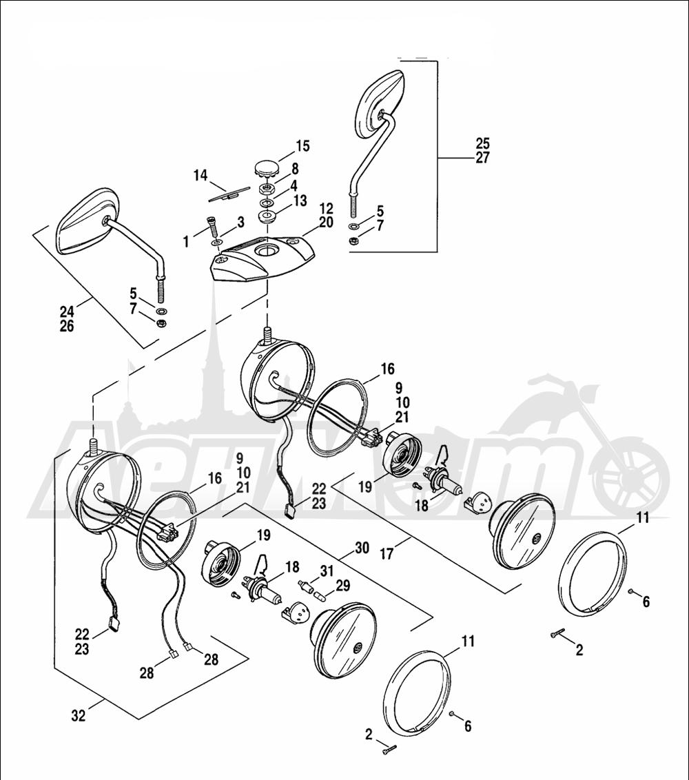Запчасти для Мотоцикла Harley-Davidson 2005 SPORTSTER® XL 883 (CA) Раздел: HEADLIGHT ASSEMBLY W/ MIRRORS | передняя фара в сборе вместе с зеркала