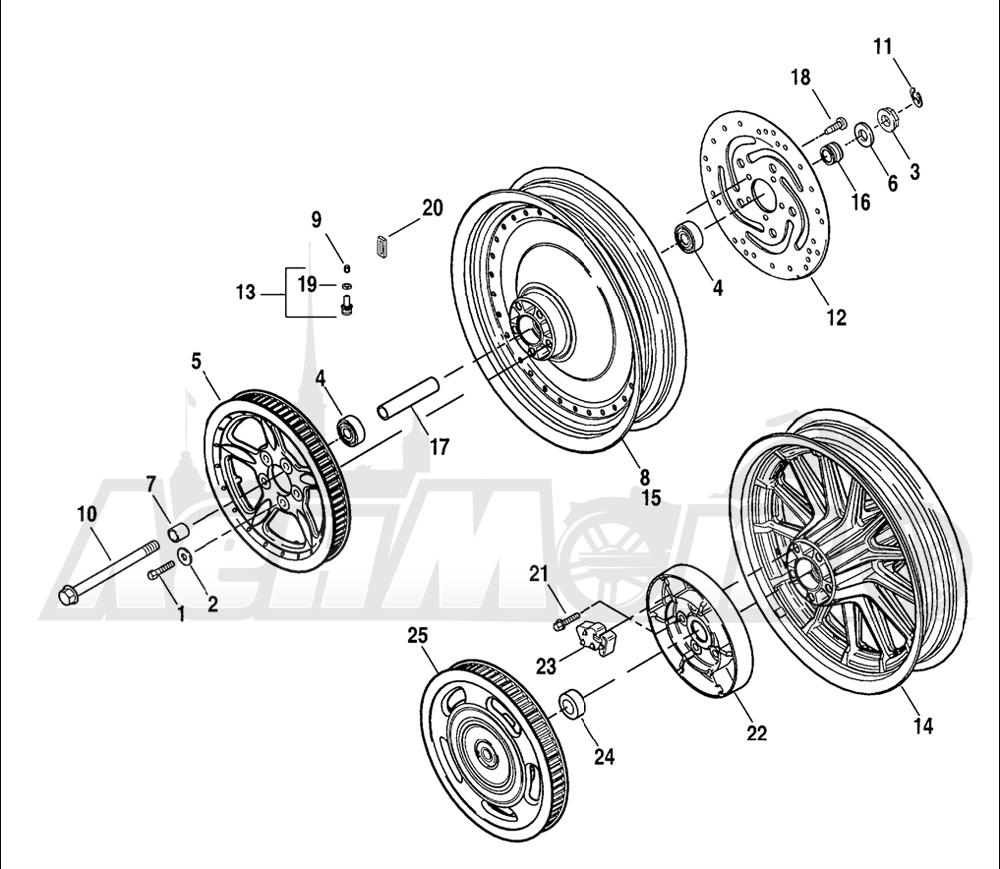 Запчасти для Мотоцикла Harley-Davidson 2005 SPORTSTER® XL 883 (CA) Раздел: WHEEL - REAR (CAST) | заднее колесо (CAST)