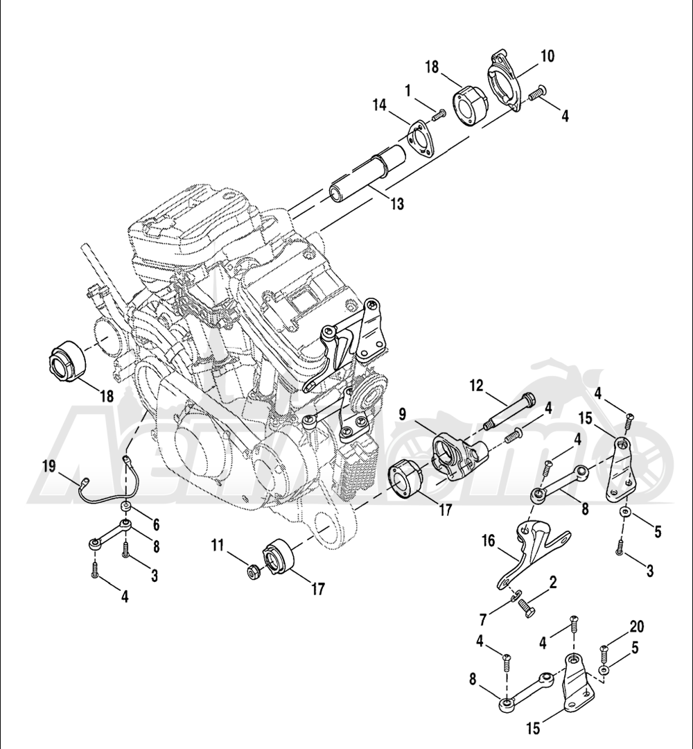 Запчасти для Мотоцикла Harley-Davidson 2005 SPORTSTER® XL 883C CUSTOM (CJ) Раздел: ENGINE MOUNTS | опоры двигателя