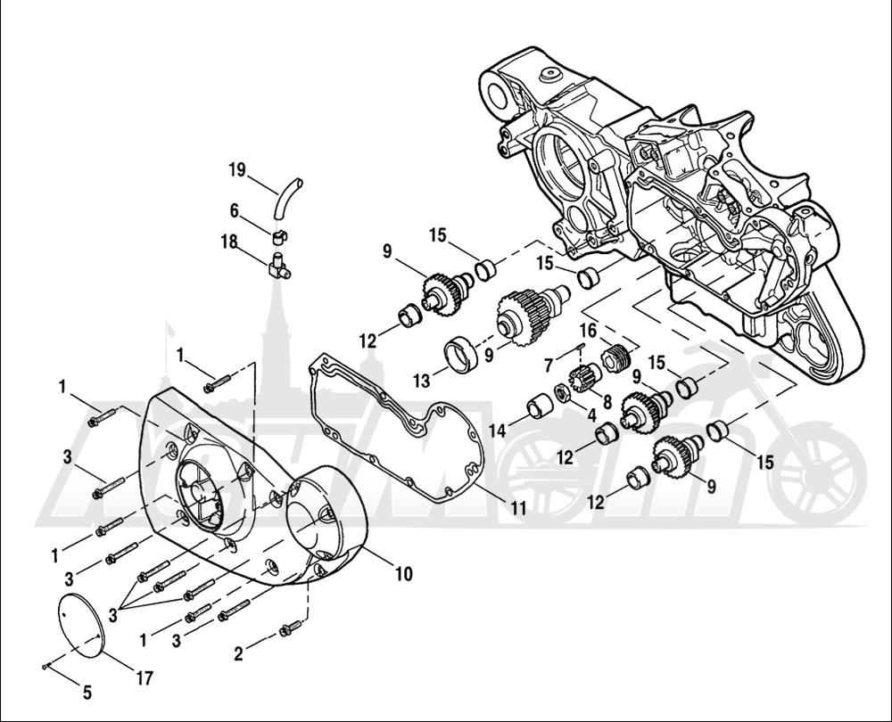 Запчасти для Мотоцикла Harley-Davidson 2005 SPORTSTER® XL 883C CUSTOM (CJ) Раздел: GEARCASE W/ COVER | коробка передач вместе с крышка