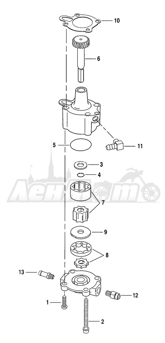 Запчасти для Мотоцикла Harley-Davidson 2005 SPORTSTER® XL 883C CUSTOM (CJ) Раздел: OIL PUMP | маслянный насос