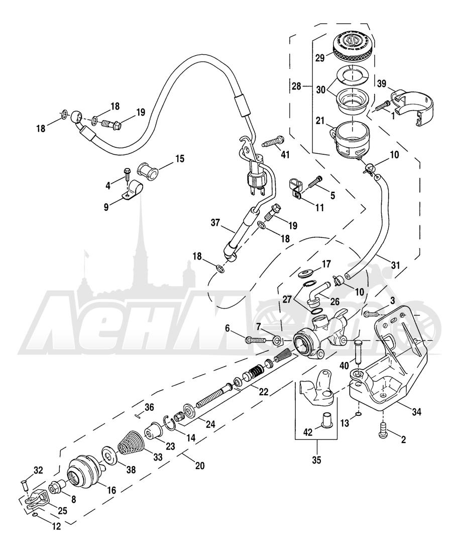 Запчасти для Мотоцикла Harley-Davidson 2005 SPORTSTER® XL 883C CUSTOM (CJ) Раздел: BRAKE - REAR BRAKE CYLINDER | задний тормоз тормоза цилиндр
