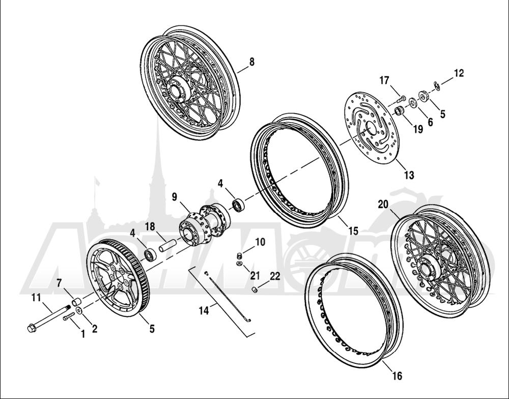 Запчасти для Мотоцикла Harley-Davidson 2005 SPORTSTER® XL 883C CUSTOM (CJ) Раздел: WHEEL - REAR (LACED AND PROFILE LACED))   заднее колесо (LACED и PROFILE LACED))