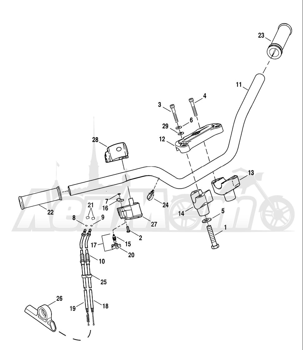 Запчасти для Мотоцикла Harley-Davidson 2005 SPORTSTER® XL 883R RACE REPLICA (CK) Раздел: HANDLEBAR W/ THROTTLE CONTROL   руль вместе с дроссель управление