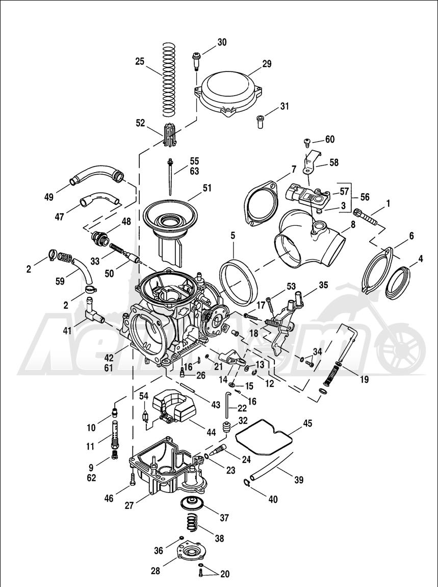 Запчасти для Мотоцикла Harley-Davidson 2005 SPORTSTER® XL 1200R ROADSTER (CL) Раздел: CARBURETOR ASSEMBLY | карбюратор в сборе