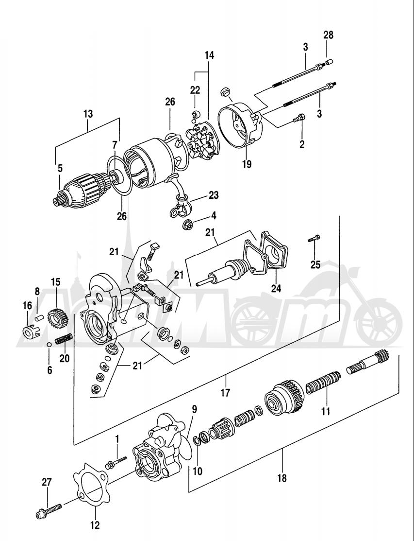 Запчасти для Мотоцикла Harley-Davidson 2005 SPORTSTER® XL 1200R ROADSTER (CL) Раздел: ELECTRICAL - STARTER ASSEMBLY | электрика стартер в сборе
