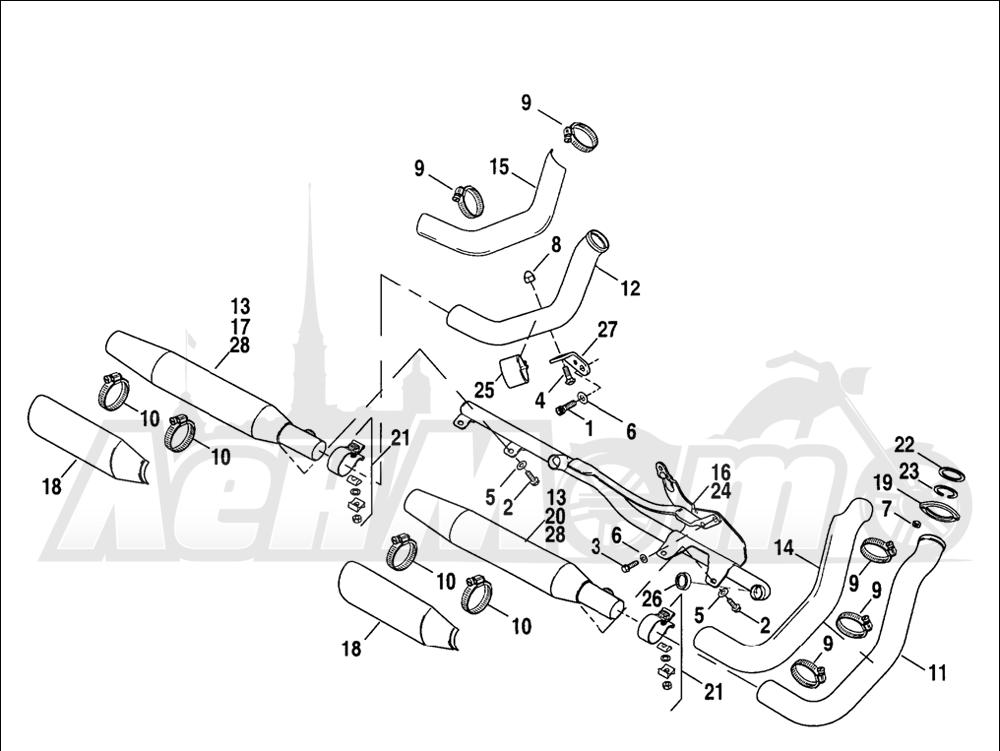 Запчасти для Мотоцикла Harley-Davidson 2005 SPORTSTER® XL 1200R ROADSTER (CL) Раздел: EXHAUST SYSTEM | выпускная система